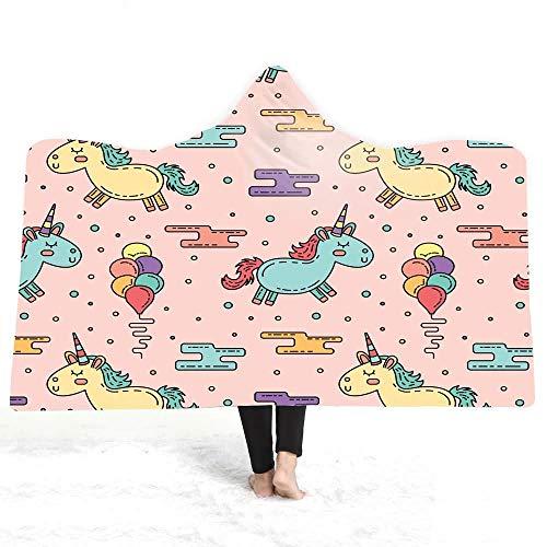 Eenhoorn bedrukte capuchon deken winter warm pluche mantel draagbare badkamer kinderen meisjes volwassenen gooien