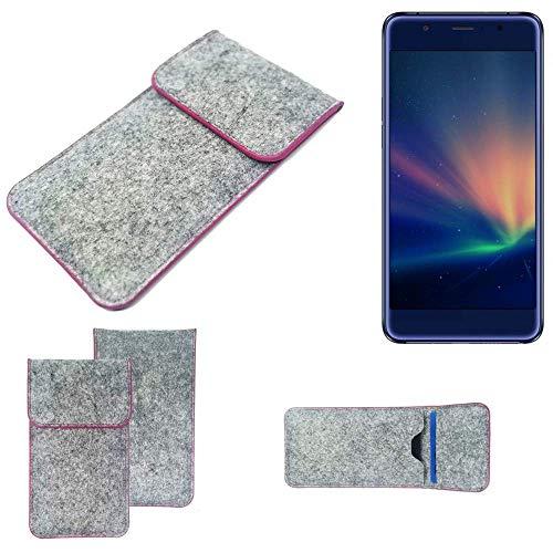 K-S-Trade Handy Schutz Hülle Für Hisense A2 Pro Schutzhülle Handyhülle Filztasche Pouch Tasche Hülle Sleeve Filzhülle Hellgrau Pinker Rand