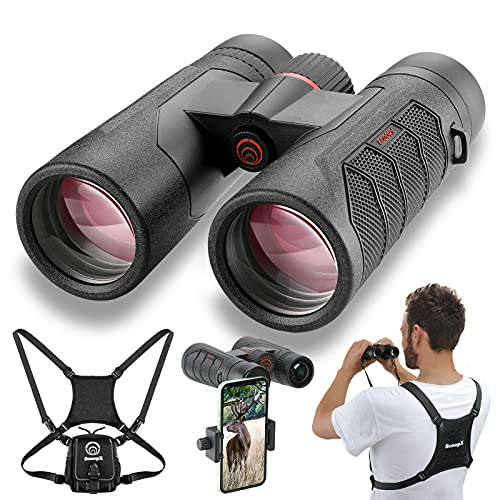 10x42 Ultra HD Binoculars with Phone Adapter and Harness - 24mm Large View Eyepiece, Edge-to-Edge Sharpness, 6.5° Wide Angle Field of View - Lightweight Waterproof Binoculars for Bird Watching Hunting