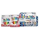 Carioca Set Super Lavable | Kit de Colores para Niños con 24 Rotuladores Super Lavables, 12 Acuarelas en Pastilla y 5 Vasitos de Témperas para Niños, 41 Unidades