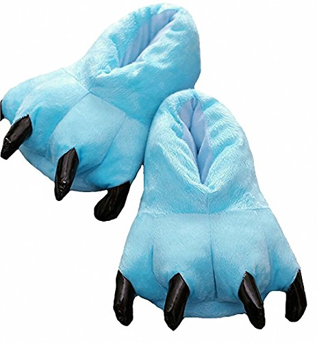 Akanbou Cosplay Monster Paw Plush Slippers Monster Feet Claw Slippers Home Shoes (Men US 7-10, Sky Blue)