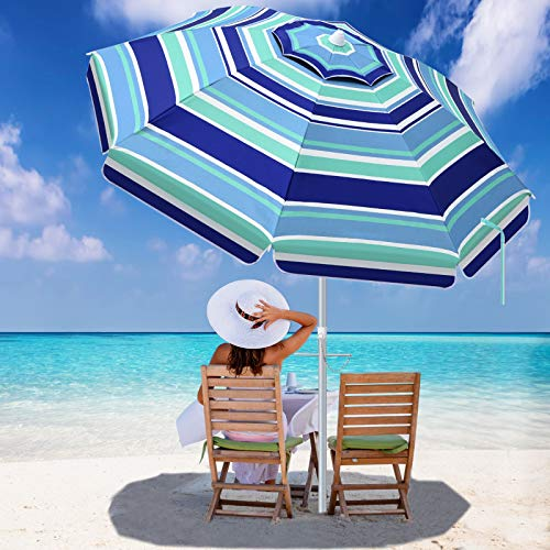 SANSUNTEK Beach Umbrella with Sand Anchor,6.5ft Portable Travel Beach Umbrella for Sand with Tilt Aluminum Pole, Sun Wind Resistant Umbrella for Beach Patio Backyard Outdoor with Carry Bag
