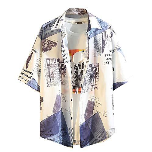 Heren hemd casual korte mouwen Hawaii draadloze blouse mannen knoop losse grote maat T-shirt top kabeloring - - XL