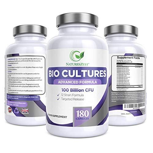 Natures Zest 100 Billion CFU Bio Cultures Probiotics with Prebiotics 180 Capsules Highest Strength 12 Strain Ultra Formula for Adults (Men/Women) Food Supplement – 6 Months' Supply