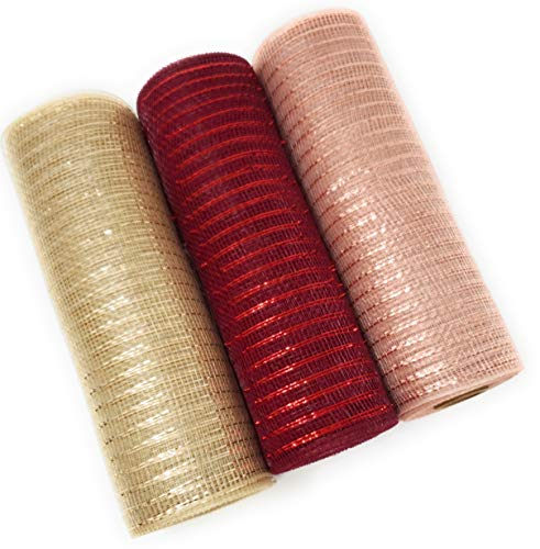 Winter Rose Gold Deco Mesh, 10in x 10yd Metallic Ribbon Rolls (Rose Gold, Burgundy, Champagne)