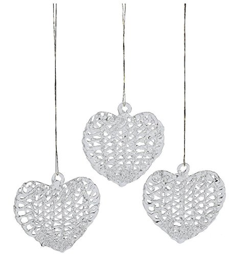 Heart Shaped Spun Glass Ornaments (bulk set of 12) Christmas Tree Decor