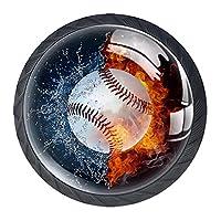 キャビネットノブ4個クリスタルガラスプルハンドル野球水の火 家具のドアまたは引き出しを開く場合