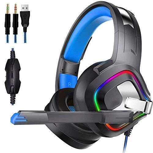 Big Shark Gaming Headset Stereo Gaming Headset Plus d'oreille Filaire Casque avec Microphone LED lumières Basse Surround Compatible for PS4 / Portables/Jeux (Color : Blue)