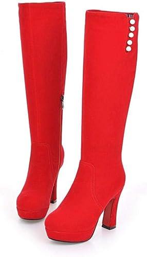 HommesGLTX Talon Aiguille Talons Hauts Sandales Grande Taille 33-41 Hiver Chaud Nouveau Bottes à Talons Hauts Loisirs élégant Talons Femmes Chaussures Bout Rond du Genou Bottes TX-1