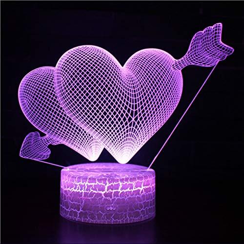 Amor durchbohrt das Herz 3D-Lampe Spiel LED-Nachtlicht 7 Farbwechsel Touch Mood Lamp