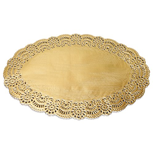 Geeklife Gold Foil Paper Placemats, Disposable Lace Placemats, Oval Paper Doilies, 10.5 x 13.8 Inches,40 Count