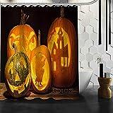 WOONN Halloween-Kürbis-Duschvorhang, Produkt, Stoff-Badezimmer-Displaye, Schokolade