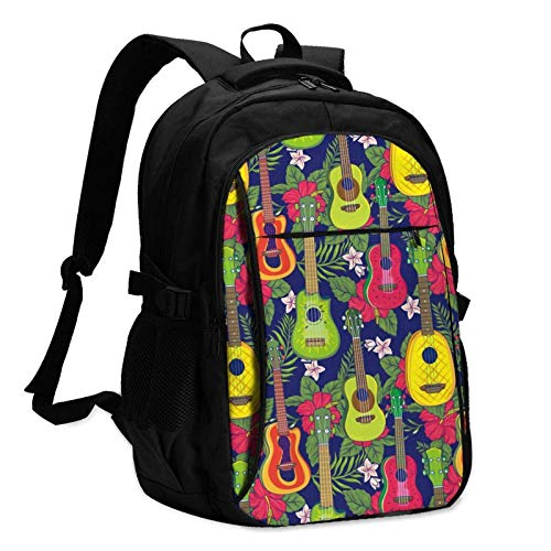 XCNGG Colorful Hawaiian Fruit Guitar Travel Laptop Backpack with USB Charging Port Multifunction Work School Bag