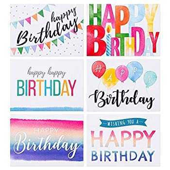 Spark Ink Birthday Cards and Envelopes Assortment  50 pcs  Happy Birthday Greeting Card for Kids & Adults Bulk Pack Includes 4 X 6 inch Unique Bday Cards