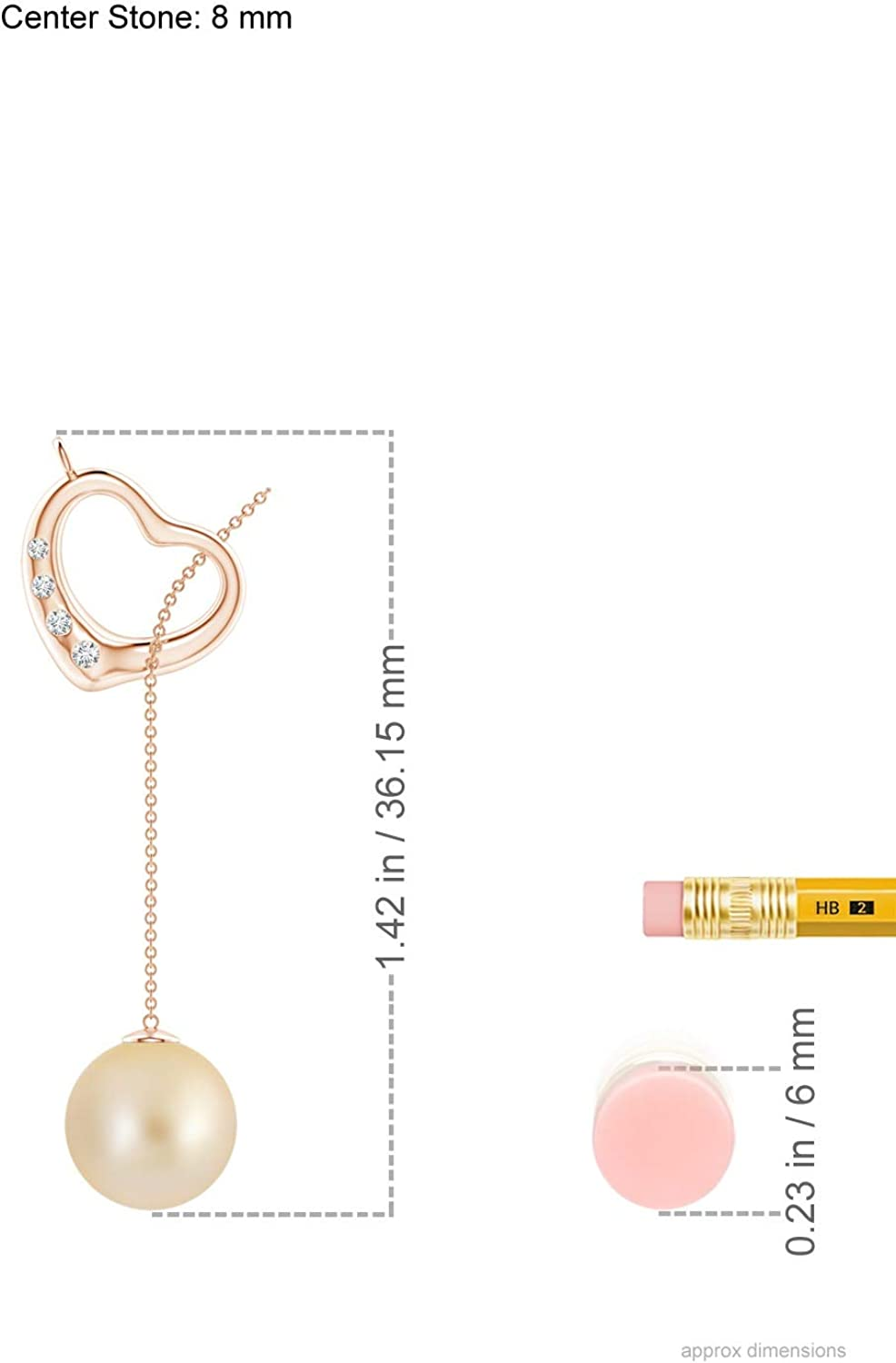 Golden South Sea Cultured Pearl Lariat-Style Heart Necklace (8mm Golden South Sea Cultured Pearl)