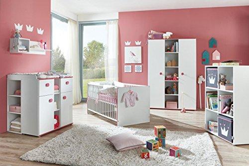 lifestyle4living Babyzimmer, Kinderzimmer, Babymöbel, Komplett-Set, Babyausstattung, Babybett, Wickelkommode, Schrank, Mädchen, weiß,...