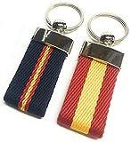 YOJAN PIEL | Conjunto dos llaveros de Lona con Bandera de España | Para Mantener las Llaves Juntas | Llavero Colgante de Metal y Cuero | Resistente y Duradero | Gran Acabado y Calidad