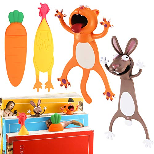 4 Pieces 3D Cartoon Animal Bookmarks for Kids Stereo Cartoon Squashed Bookmarks Novelty Funny Wacky Reading Bookmark Present Stationery Birthday Favors for Student Teens (Chicken, Carrot, Cat, Rabbit)