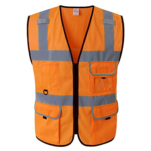 Kasthere mesh Safety Vest-High Visibility Vest mesh Reflective With Pockets and Zipper For Men and Women-Orange reflective vest Meets ANSI Class 2-Work Construction Engineer Running (S, Orange)