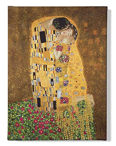 1art1 Gustav Klimt - Der Kuß II Bilder Leinwand-Bild Auf Keilrahmen   XXL-Wandbild Poster Kunstdruck Als Leinwandbild 80 x 60 cm