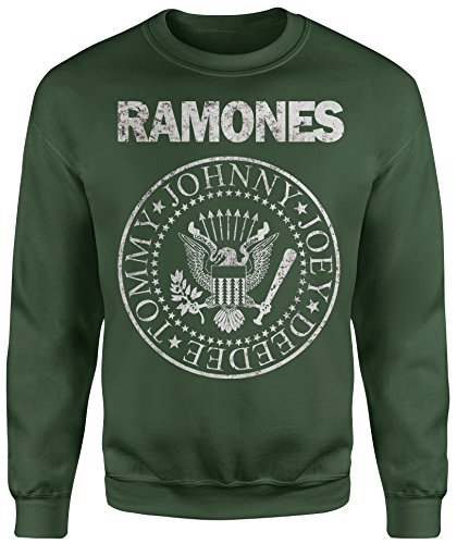 LaMAGLIERIA Sudadera Unisex Ramones Grunge Texture - Sudadera Set-in, M, Verde