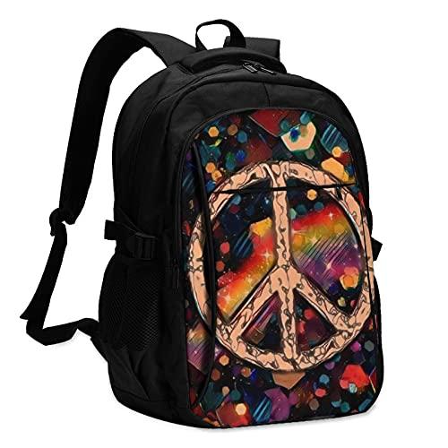 Zaino per computer portatile con segno di pace Usb astratto poligono colorato viaggio zaino scuola scuola business notebook borsa nero