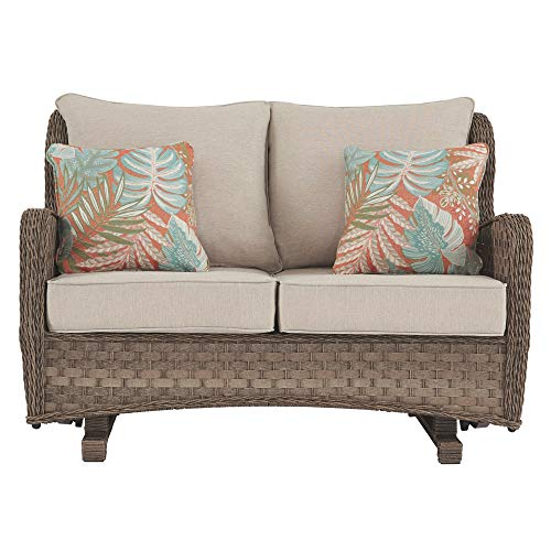 Signature Design by Ashley - Clear Ridge Outdoor Loveseat Glider - Contemporary - Wicker/Rust-Free Aluminum - Light Brown -  Ashley Furniture Industries, P361-835
