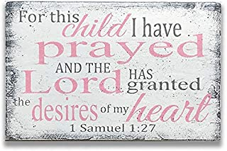 For This Child I Have Prayed Wood Sign Girls Nursery Decor Wall Art Rainbow Baby
