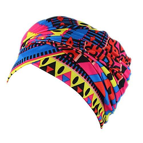 Dames hoofddoek gedrukt turban voor haarverlies vrouwen India moslim elastisch turban chiffon print long tail hoed hoofddoek wrap hoofddeksel sjaal mutsen headskarf