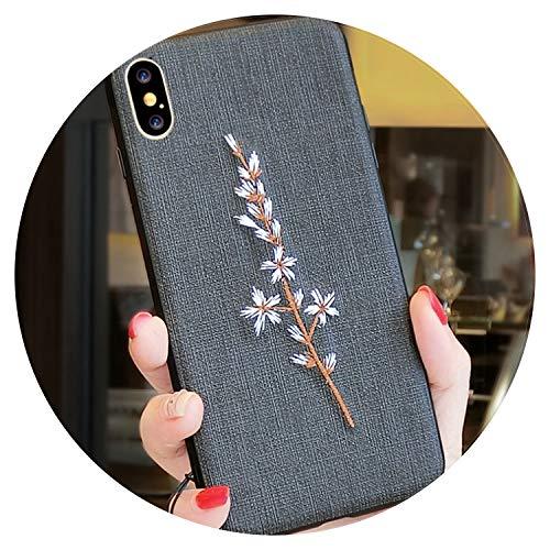 Fashion-Lover Funda de teléfono para iPhone X XR XS MAX con diseño floral para iPhone 6, 6S Plus, 7 y 8 Plus, color negro, para iPhone 7
