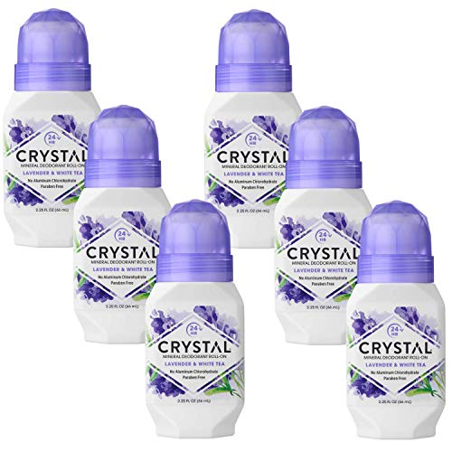 Crystal Mineral Deodorant Roll-On, Lavender & White Tea 2.25 oz (Pack of 6)