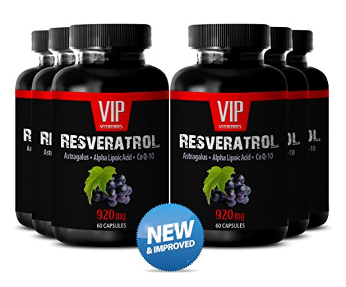 Natural Grape Seed Extract and Antioxidant to Support Nerves System and Energy- Resveratrol Plus Q10 (6 Bottles 360 Capsules)