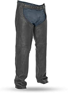 First Mfg Co Unisex-Adult Bully Leather Motorcycle Chaps (Black, Small)