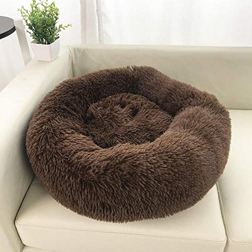 YESHUOYS Highland Luxurious Dog's Box Bed - Thicken plush round pet nest mat cat litter kennel-Brown-3_60cm in diameter