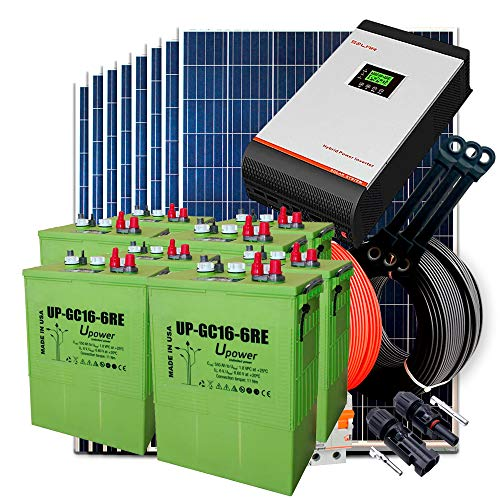 Kit Solar 24v 2400w/12000w día Batería UP-GC16 600Ah Inversor Multifunción 5kva Regulador MPPT 80A