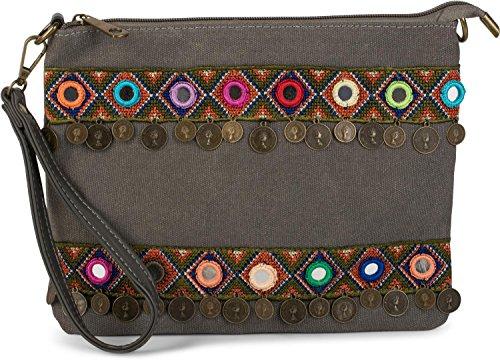 styleBREAKER borsa clutch con effetto juta in stile trendy etnico decorato con ricami, monete e piccoli specchi, borsa a tracolla, borsa, da donna 02012121, colore:Grigio