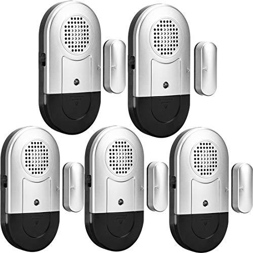 Daytech Allarme per porte e finestre 5 PCS Home Security Sensore magnetico 120DB Alert per Home Business Kids