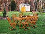 This 7 Pc Acacia Wooden Outdoor Dining Sets includes one outdoor table and Six foldable outdoor chairs