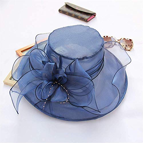 MGE Organza hoed, vrouwen opvouwbare verstelbare bruiloft bruid bloem 12cm brede brim thea party Kentucky Derby zomer cap