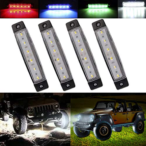 HONG 111 Led Rock Lights, Car Strip Lights, Wheel Well Lights, Led Underglow Kits for ATV,SUV, Golf Cart, Jeep RZR, Offroad, Snowmobile, 4Pcs (White)