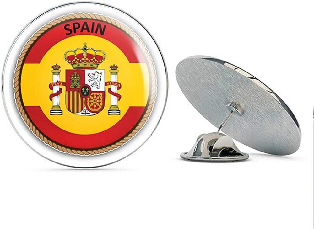 Spain Flag Seal Label Round Metal 0.75