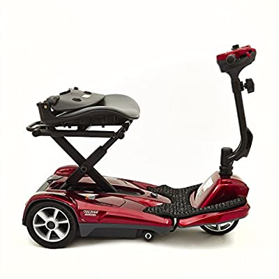 Ability Superstore Lightweight Curlew Automatic Folding Mobility Scooter Red (Eligible for VAT relief in the UK)