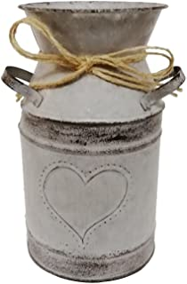 Watering Honey 7.5inch Old Fashioned Galvanized Milk Can with Heart-Shaped Printing - Grey