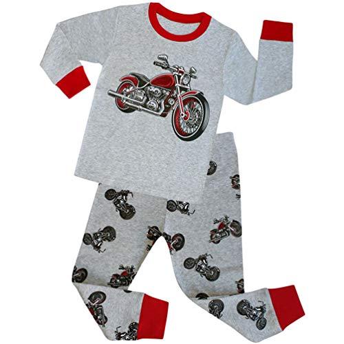 YuanDian Jungen Mädchen Weihnachten Schlafanzug 2 Stück Set 100% Baumwolle Kinder Nachtwäsche Cartoon Drucken Langarm Pyjama Weihnachtskostüm Tops Shirts & Hose Outfit 80-140 Motorrad 3 Jahre