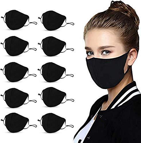 Reusable Cotton Adjustable Adult Protective Face Protector (10Pcs-Black)