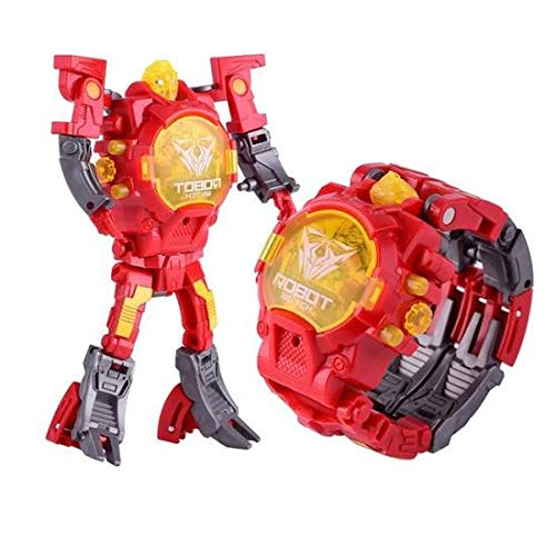 Electronic Toy Watch Transformers Robot Toys Kids 2 in 1 Electronic Transformers Toys Watch Deformed Robot Manual Children's Birthday Christmas Gift 3-6 Ages - Red