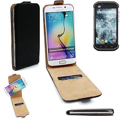 360° Caso Smartphone della copertura per Caterpillar Cat S40 stile vibrazione , nero, flip cover - K-S-Trade