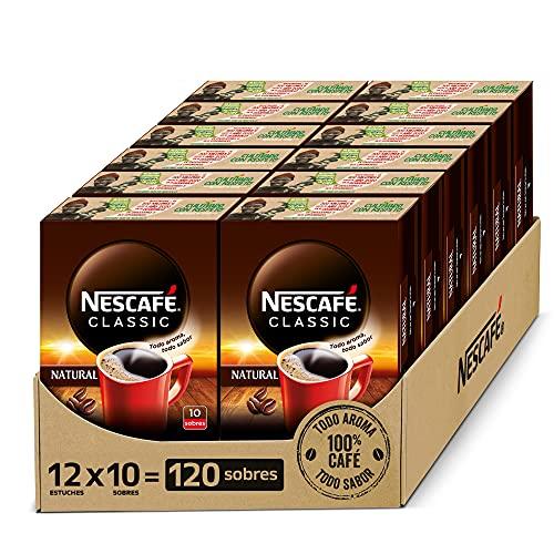 NESCAFÉ CLASSIC NATURAL todo aroma y sabor, café soluble, 100 % café, Pack de 12 estuches con 10 sobres, TOTAL 120 sobres