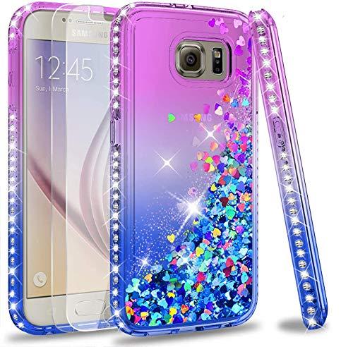 LeYi Hülle Galaxy S6 Glitzer Handyhülle mit Panzerglas Schutzfolie(2 Stück),Cover Diamond Rhinestone Bumper Schutzhülle für Hülle Samsung Galaxy S6 Handy Hüllen ZX Gradient Purple Blue