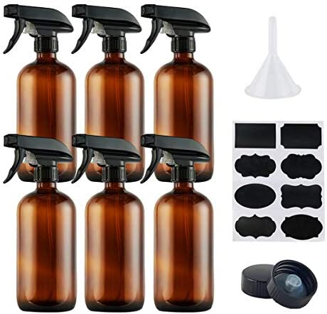 Empty Amber Glass Spray Bottles Refillable 16 oz Container with Funnel and Labels for Essential product image